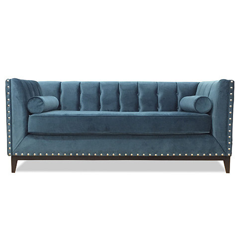 Sylvia Sofa with Studding in Blue Fabric