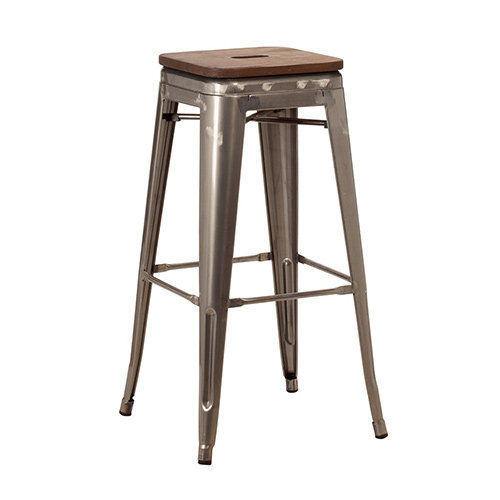 French Bistro High Stool with Wooden Seat Pad