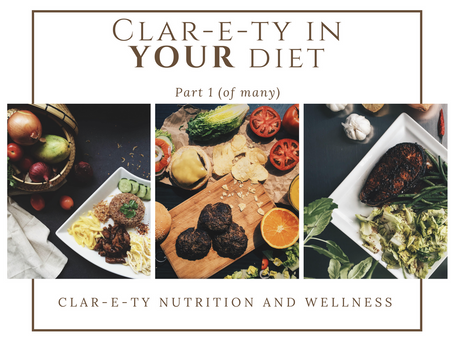 Clar-e-ty in YOUR Diet, Pt 1