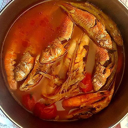 Zuppa Mista con spina (gallinella, scorfano, arzilla, cozze e vongole)