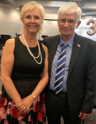 Fort Saskatchewan Mayor Gail Katchur and Community Band Conductor Guy Palmer