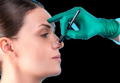 cosmetic-surgeon-examining-female-client