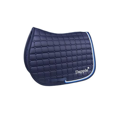 Dapple Pony Navy Diamanté Saddle Pad with Blue & White Piping