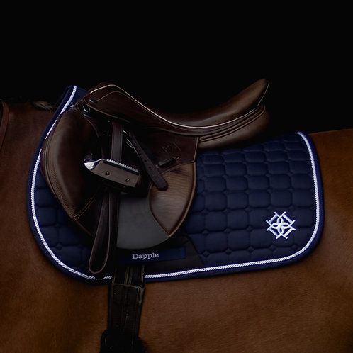 Navy Saddle Pad with White Piping