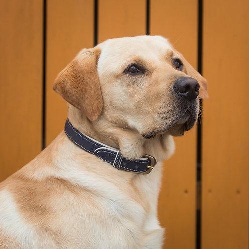 Dapple Navy & Cream Leather Dog Collar