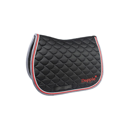 Dapple Pony Black Saddle Pad with Red & Grey Piping