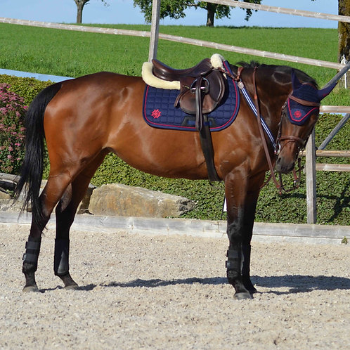 Navy Saddle Pad with Burgundy Piping