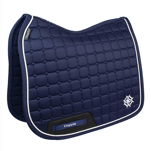 Dressage Navy Saddle Pad with White Piping