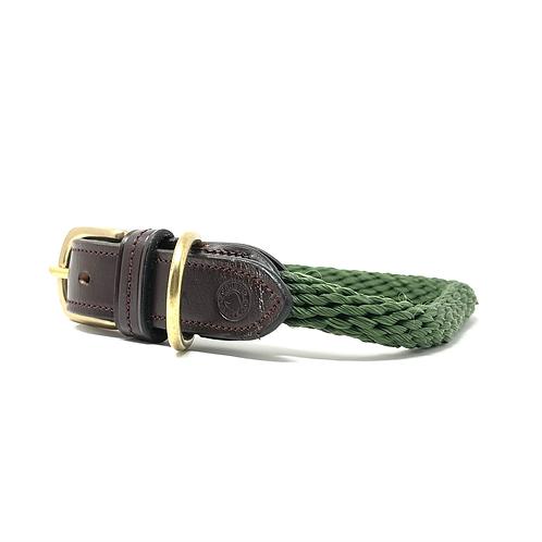 Country Pet Luxury Rope Forest Green Dog Collar