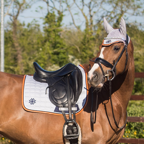 Dressage Cloud Grey Saddle Pad with Navy & Cognac Faux Leather Piping