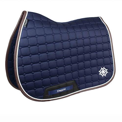 Navy Saddle Pad with White & Brown Faux Leather Piping