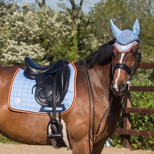Dressage Sky Blue Saddle Pad with Navy & Cognac Faux Leather Piping