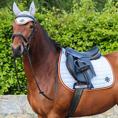 Cloud Grey Saddle Pad with Navy & Cognac Faux Leather Piping