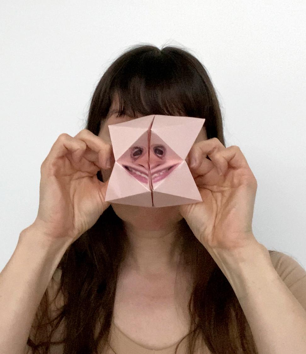 Self Portrait with Origami Paku Paku #3.