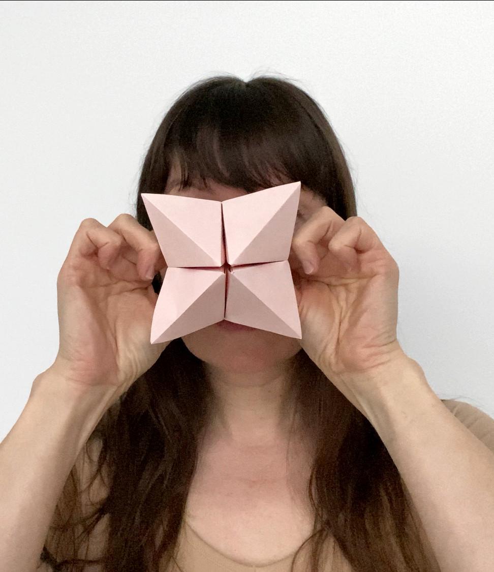 Self Portrait with Origami Paku Paku #2.