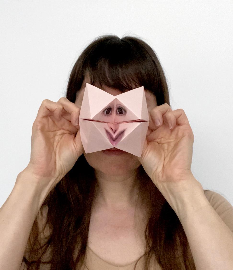Self Portrait with Origami Paku Paku #1.
