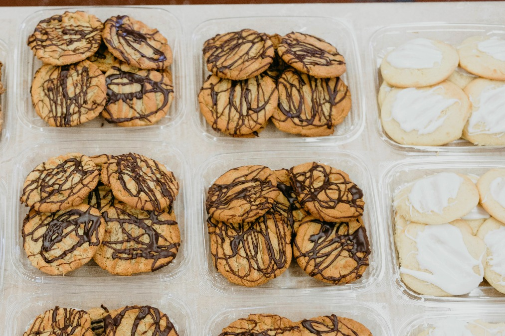Fresh cookies getting packaged up.