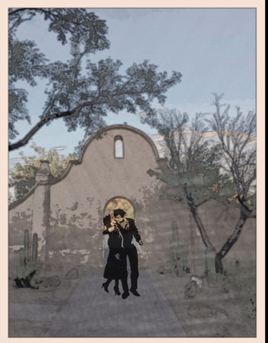The kiss at San Javier Del Bac