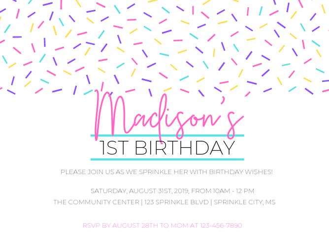 1st Birthday Party Invite