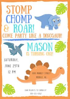 Dino Themed Birthday Invite