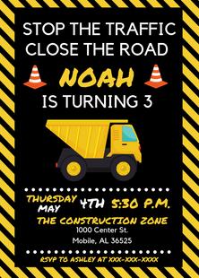 Construction Themed Invite