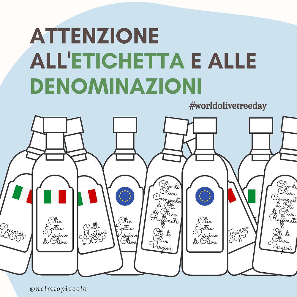 Denominazioni ed etichette su bottiglie di olio d'oliva