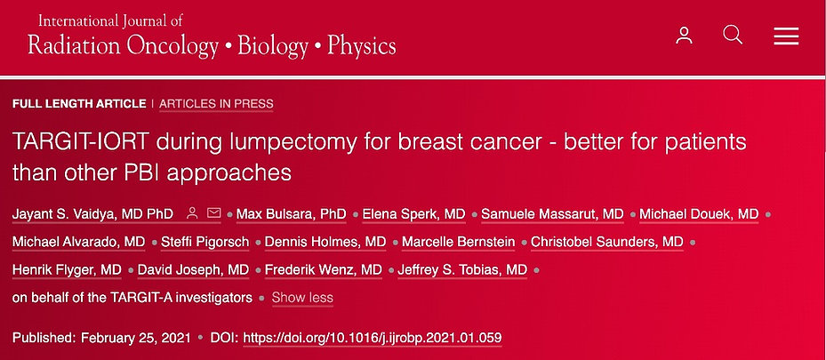 IORT - intraoperative radiation thearpy for breast cancer - better for patient than other PBI approaches
