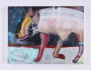 """'Jackal Laugh' mixed media on canvas, 18"""" x 24"""", 2020. $1000"""