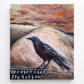 "'Crow waiting' oil on canvas, 24"" x 30"", 2021. $1200"