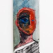 """""""Skate Portrait 1"""" oil on skateboard, 2021. (Sold)"""