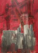 """Abandon"" acrylic and pastel on canvas, 36"" x 48"", 2015."