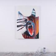 "'Instinct II' aerosol, oil stick, and oil on canvas, 24"" x 36"", 2020. $1500"