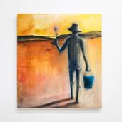 "'Path' oil and aerosol on canvas, 36"" x 40"", 2021. $2750"