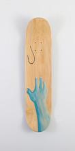 """Instant Gratification"", acrylic on skateboard deck, 7.5"" x 31"", 2019. (Sold)"