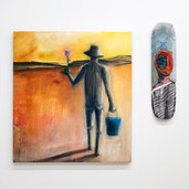 """'Path' oil and aerosol on canvas, 36"""" x 40"""", 2021. $2750 (skateboard for scale)"""