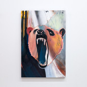 """Instinct"" oil and aerosol on canvas, 24"" x 36"", 2021. $1500"