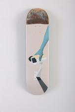 """Self Censorship"" acrylic on skateboard 7.5"" x 31"" 2019. (Sold)"