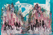 """""""The Boroughs"""" acrylic and pastel on canvas, 24"""" x 36"""", 2015. (Sold)"""