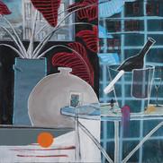 """Insomnia"" acrylic, pastel, and aerosol on canvas, 36"" x 36"", 2019. $2000"