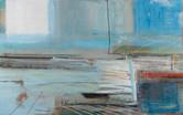 """Horizons"" acrylic, aerosol, and pastel on canvas, 30"" x 40"", 2018. (Sold)"