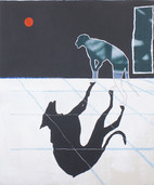 "'Future Longing' acrylic, pastel, oil stick on wood panel, 18""x24"", 2020. (Sold)"