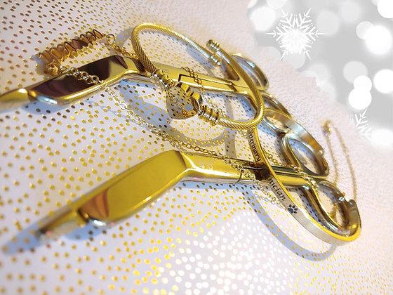 One Gold scissor & one piece gold jewelry