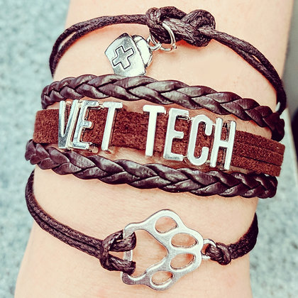 Vet tech paw style bracelet in dark brown
