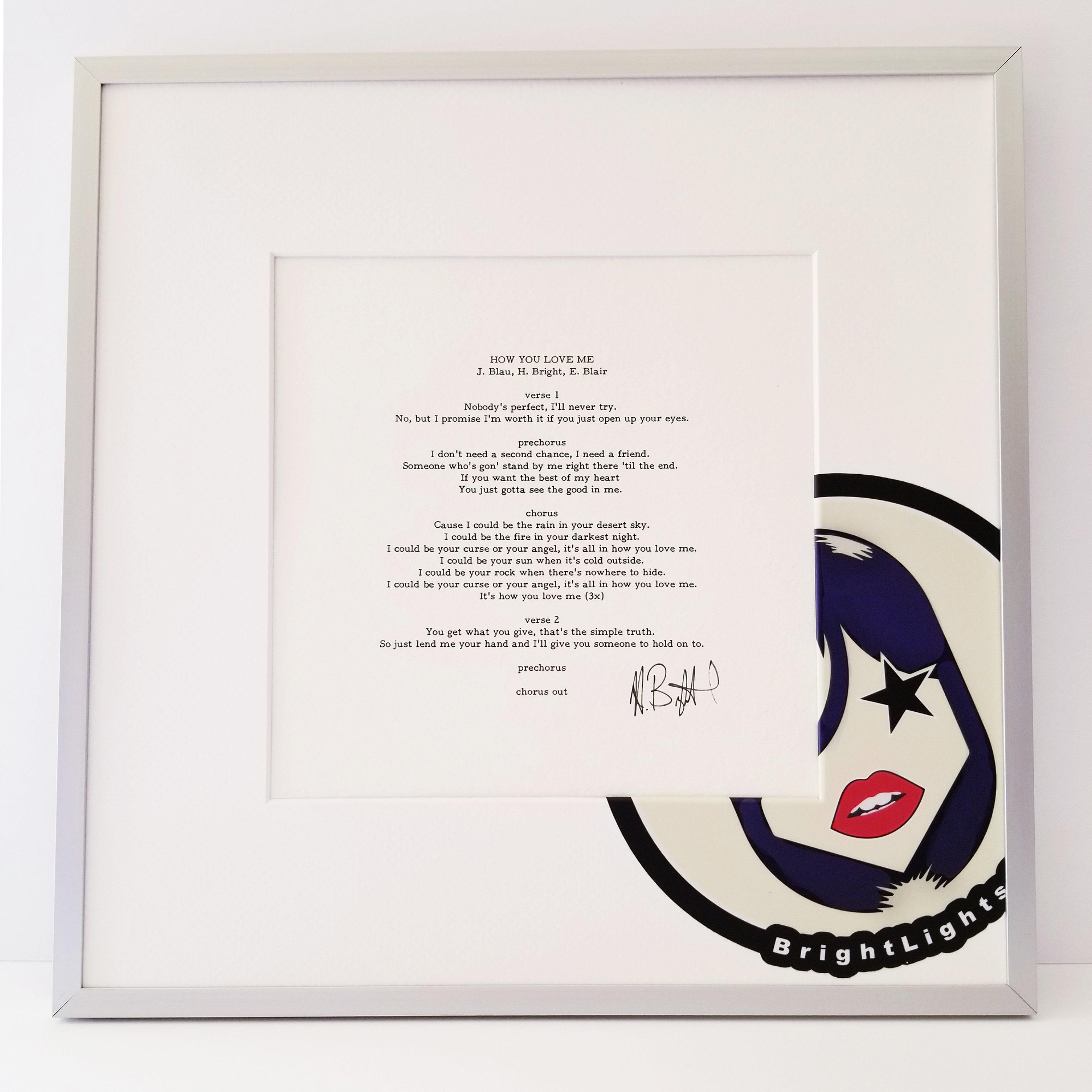 Bright Lights - Autographed Lyric Sheets