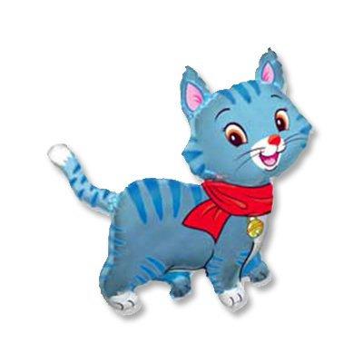 Кошечка с шарфом голубая