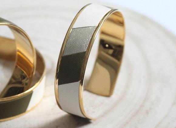 Bracelet manchette 15mm en laiton galvanisé et cuir d'agneau Chocolat Blanc, Kaki et  Platine Atelier Occitana