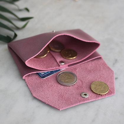 Porte-monnaie sans couture cuir violine Atelier Occitana