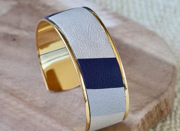 MANCHETTE cuir Argent, Bleu marine et Or blanc (23mm)
