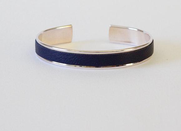 MANCHETTE cuir Bleu marine (10mm)