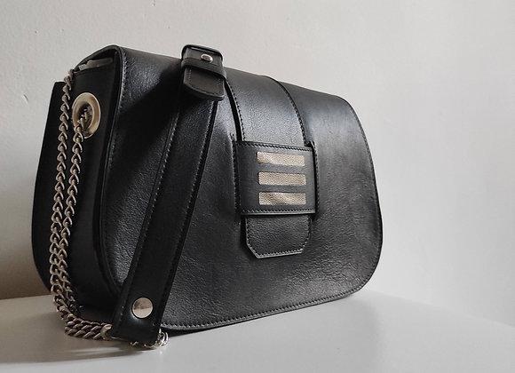 SAC CAVALIER cuir noir et marqueterie kaki bronze